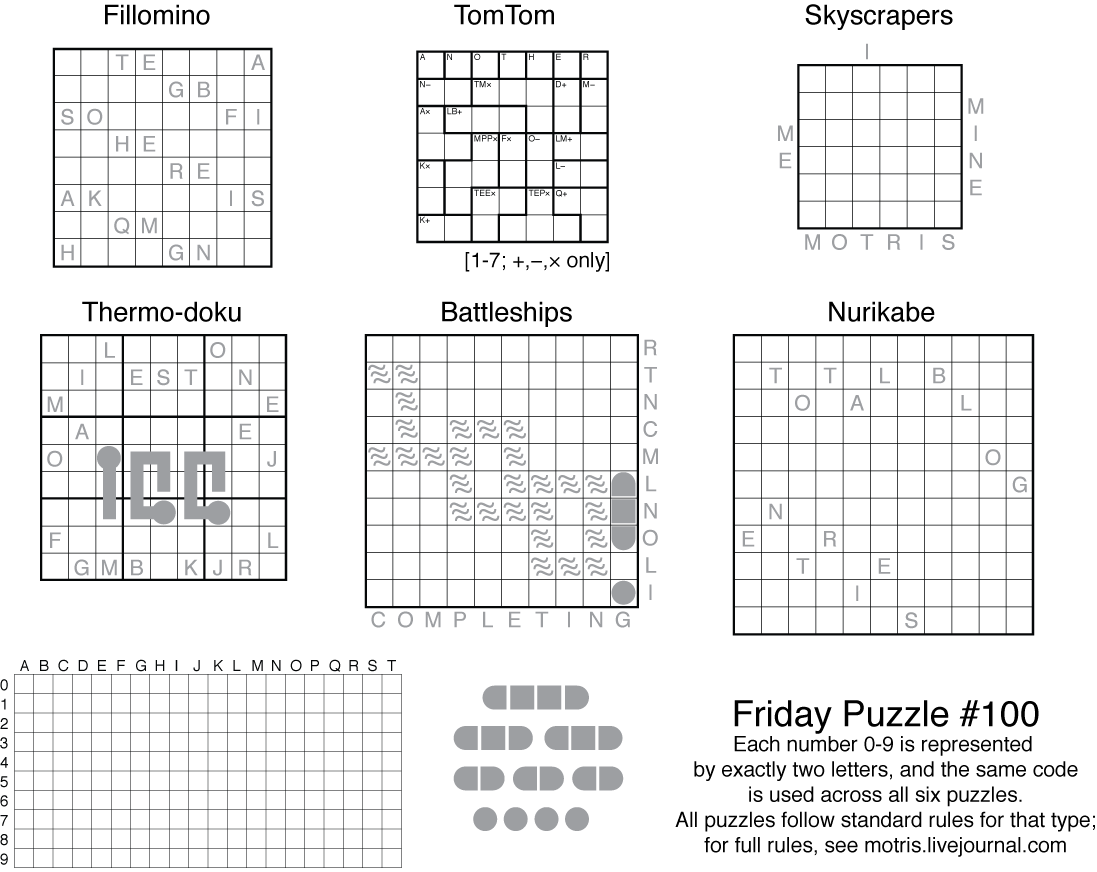 worksheet Number Grid Puzzles friday puzzle 100 another milestone the art of puzzles full instructions 6 common types are here following their standard rules but all normal number clues have been replaced wi